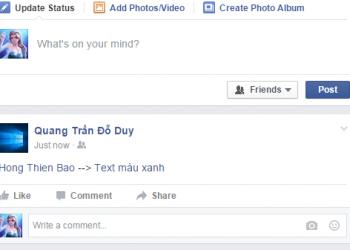 Tut Viết chữ màu xanh trên Facebook 2