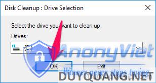 Chọn ổ đĩa cài đặt Windows 10 trong phần Drives rồi nhấn nút OK