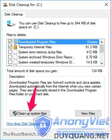 Nhấn nút Clean up system files
