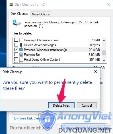 Nhấn nút Delete Files để xác nhận