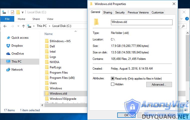 Thư mục Windows.old chiếm hơn 10 GB dung lượng lưu trữ của ổ đĩa