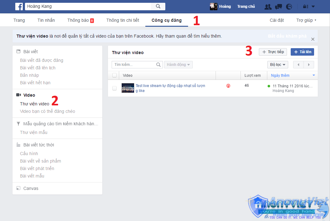 Thiết lập Facebook Live