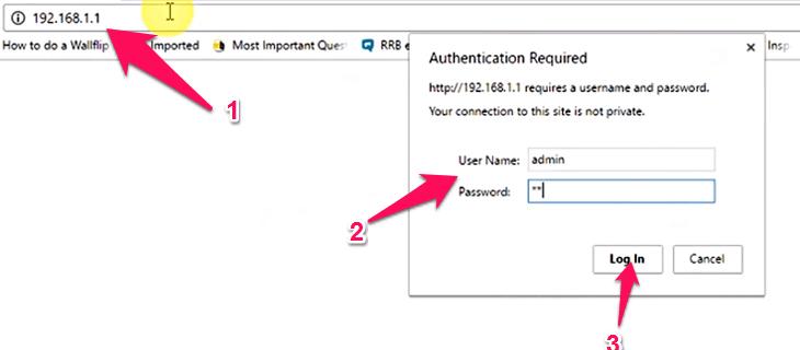 Vào IP modem và nhập user, pass