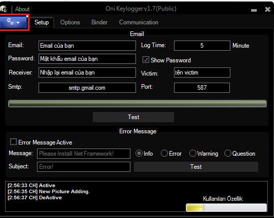 Oni Keylogger v1.7 theo dõi máy tính Full Version 2018