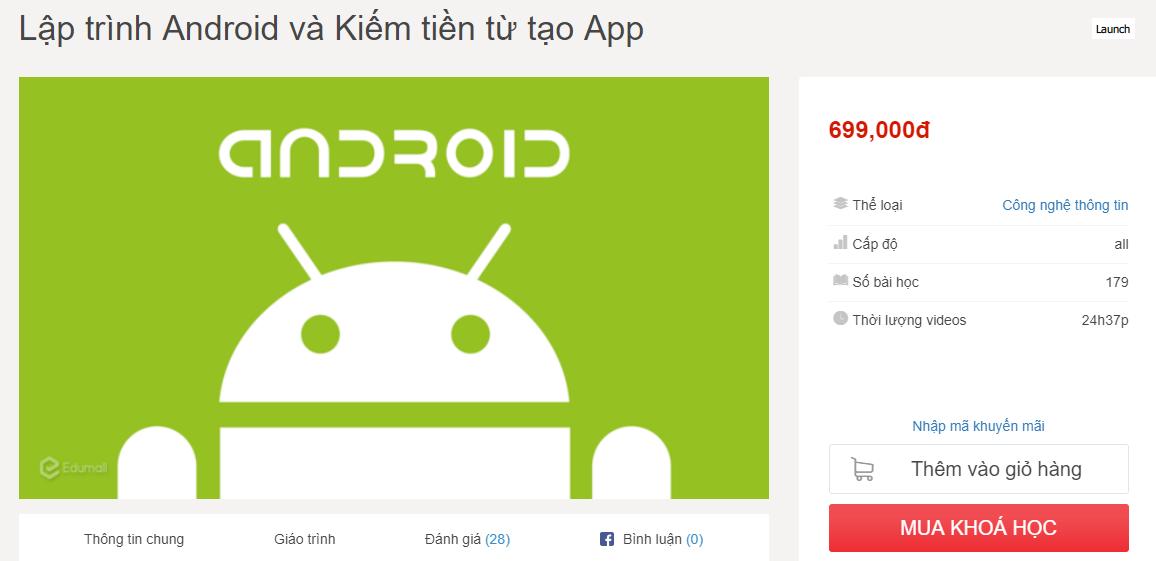 Miễn phí khóa học lập trình ứng dụng Android và cách kiếm tiền từ chúng
