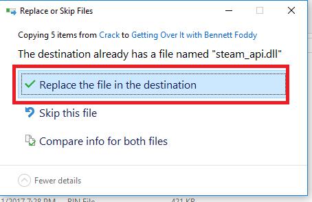nhấn Replace the file in destinationđể các file crack ghi đè lên thư mục cũ