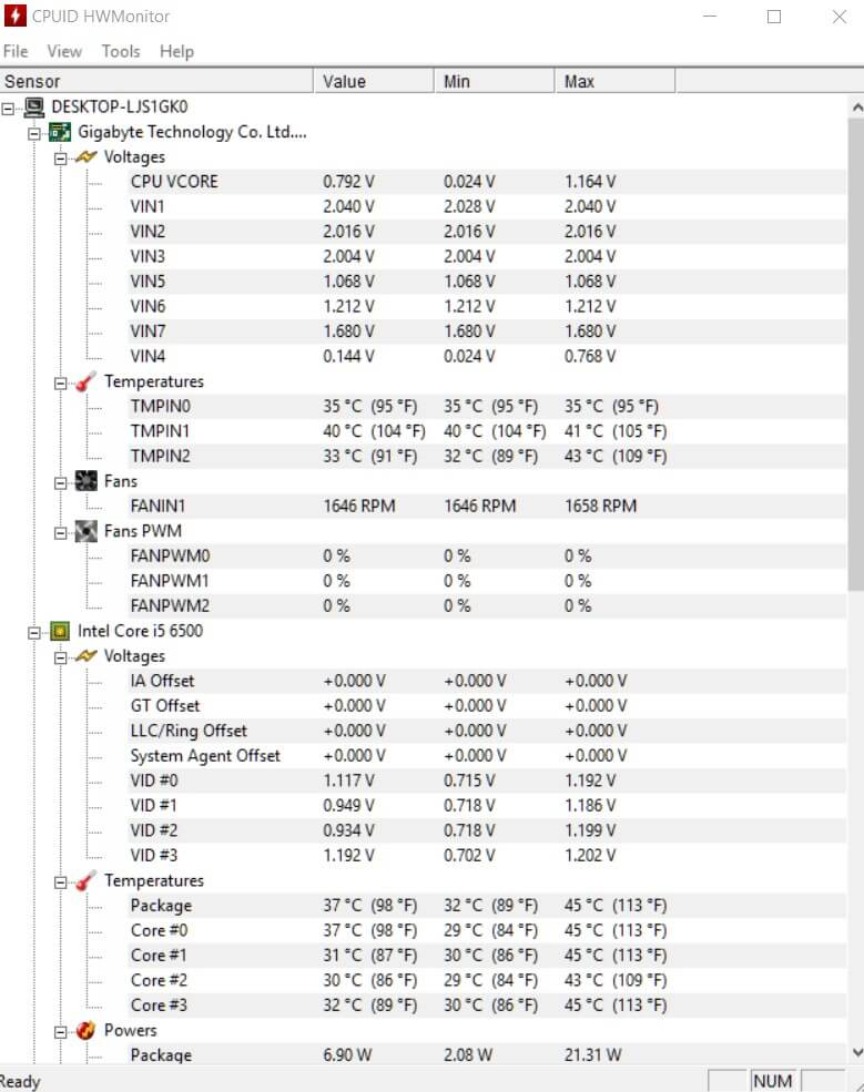 HWMonitor - Kiểm tra điện áp, nhiệt độ, tốc độ quạt máy tính