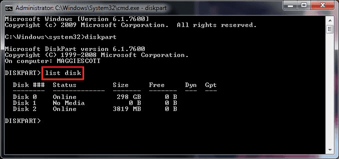 List disk to select remove write protection on disk.