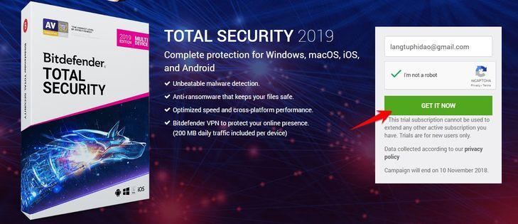 nhận bản quyền Bitdefender Total Security 2019