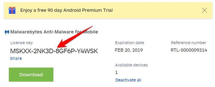 bản quyền Malwarebytes for Android