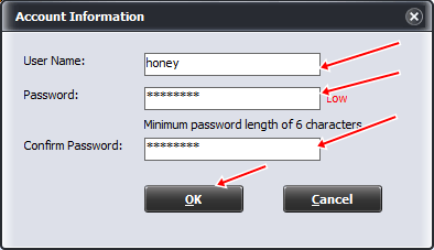 Nhập Username và Password