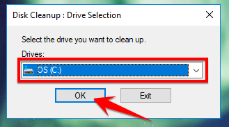 Chọn ổ đĩa trong Disk Cleanup