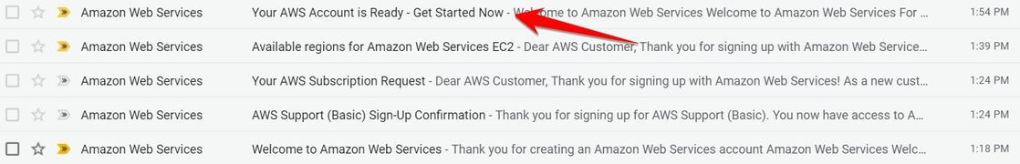 5 Email từ Amazon Web Services