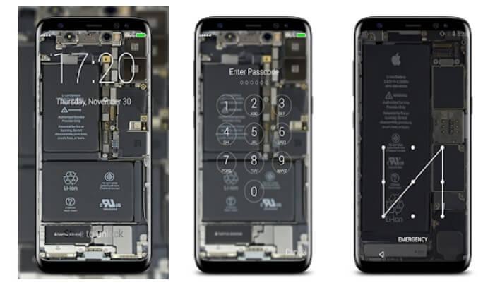 hình nền Linh kiện bên trong điện thoại bằng Transparent Lock Screen