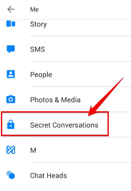 Chọn mục Secret Conversations