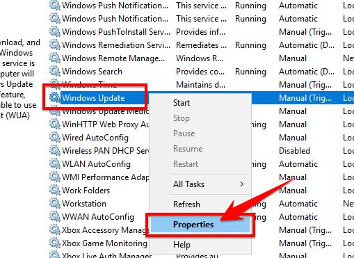 tìm đến Windows Update, chuột phải chọn Properties.