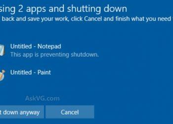 closing app and shutdown
