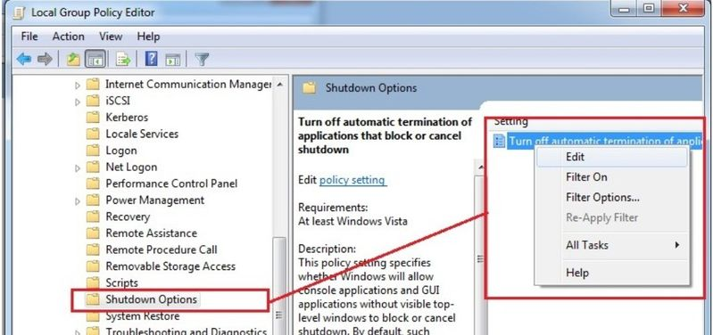 Turn off automatic terminations of applycations that block or cancel shutdown