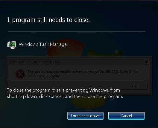 Thông báo xác nhận Force Shutdows trên Windows 7