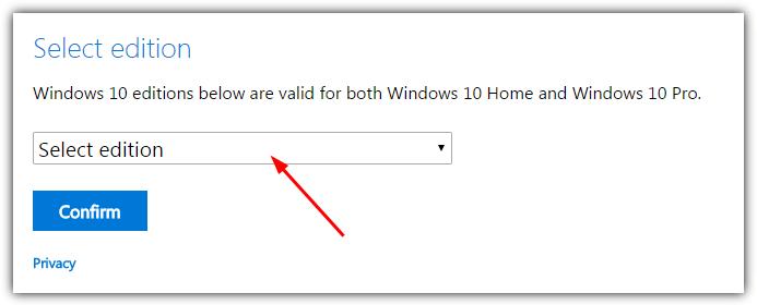 hộp thoại chọn phiên bản Windows