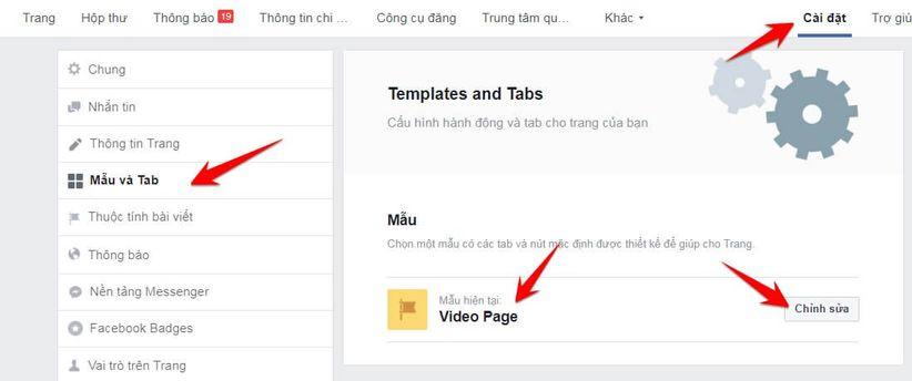 Cách chuyển Page sang Mẫu Video