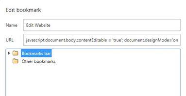 dán code chỉnh sửa website vào bookmark
