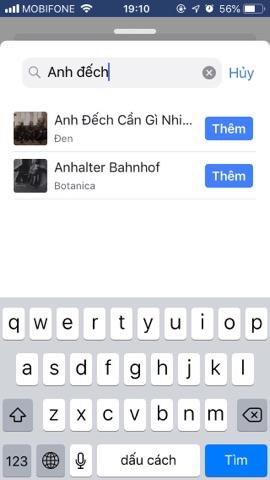 tìm bài hát để thêm vào profile fb