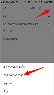 dùng chế độ bảo mật gmail trên điện thoại