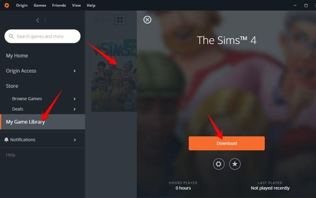 Menu Libary, chọn Game The Sim 4 và Download