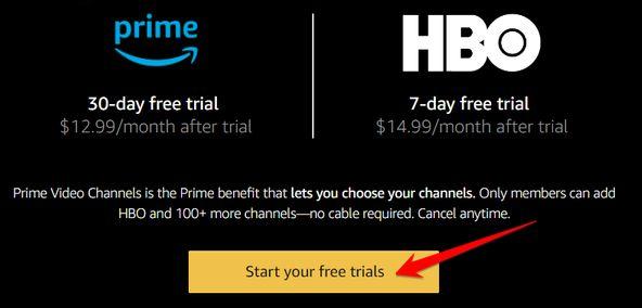 trang đăng ký của Amazon Prime Video