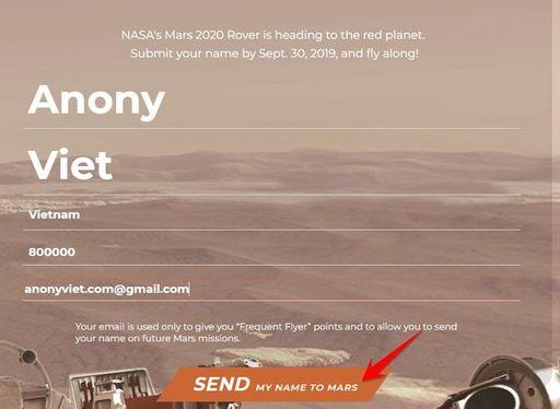 Địa chỉ Website đăng ký tên mình lên Sao Hỏa