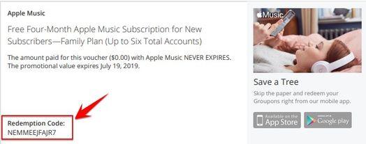 Code Apple Music 4 tháng gói Family