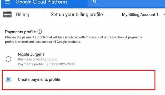 create payments profile Fix lỗi không tạo được VPS trên Google Cloud