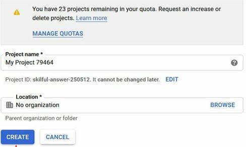 create project google cloud