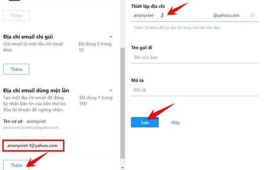 tạo Mail Yahoo ảo bằng địa chỉ Email dùng một lần