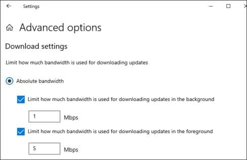 Giới hạn băng thông cho Windows Update