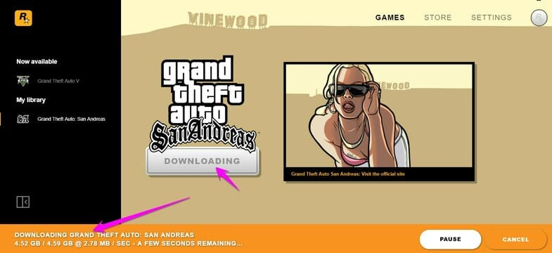 downloading Grand Theft Auto: San Andreas