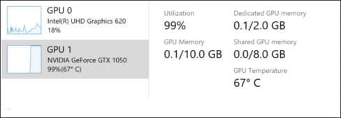 Hiển thị nhiệt độ GPU trong Task Manager