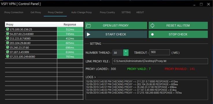 VSF! VPN Proxy Tool - Get Proxy và tự động đổi Proxy cho Windows
