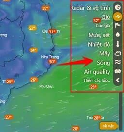 xem dự báo thời tiết trực tiếp bằng windy