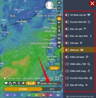 xem các vị trí sân bay, điểm lướt sóng, webcam bằng windy