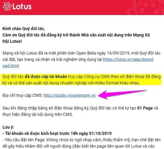 Nhận Email đăng nhập Kênh Lotus