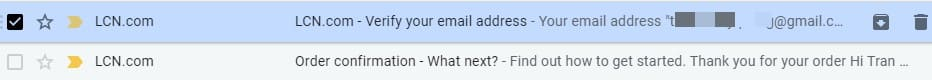email xác nhận đăng ký domain CO.UK miễn phí thành công