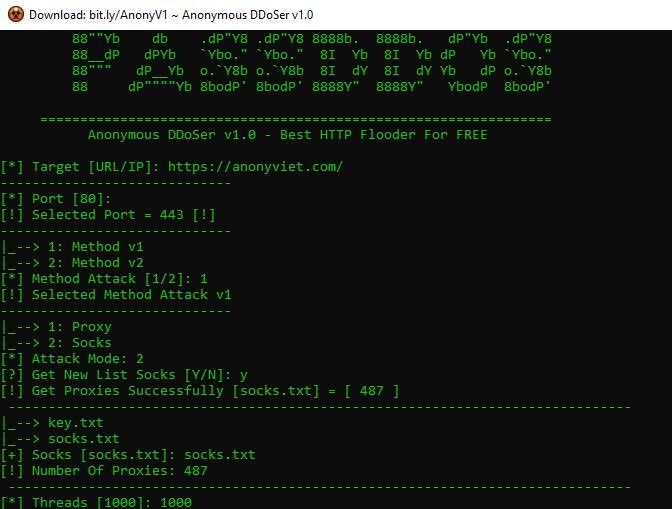 hướng dẫn dùng tool ddos Anonymous DDoSer v1.0
