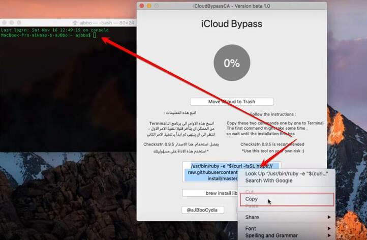 Copy code iCloudBypassCA  vào terminal