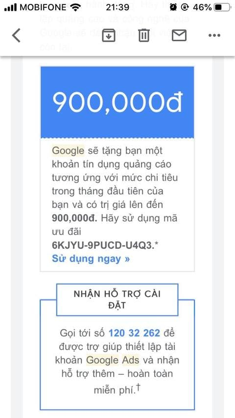 Tự tạo Coupon Google Ads